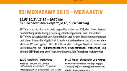 """Veranstaltungs-Tipp: Das SO! Mediacamp """"Mediaaktiv"""" am Samstag, 21. März 2015 im FS1 Sendestudio"""